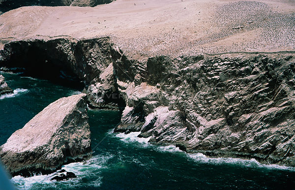Aerial view of coastline with seabird colonies, Paracas Islands, Peru, South America 2000