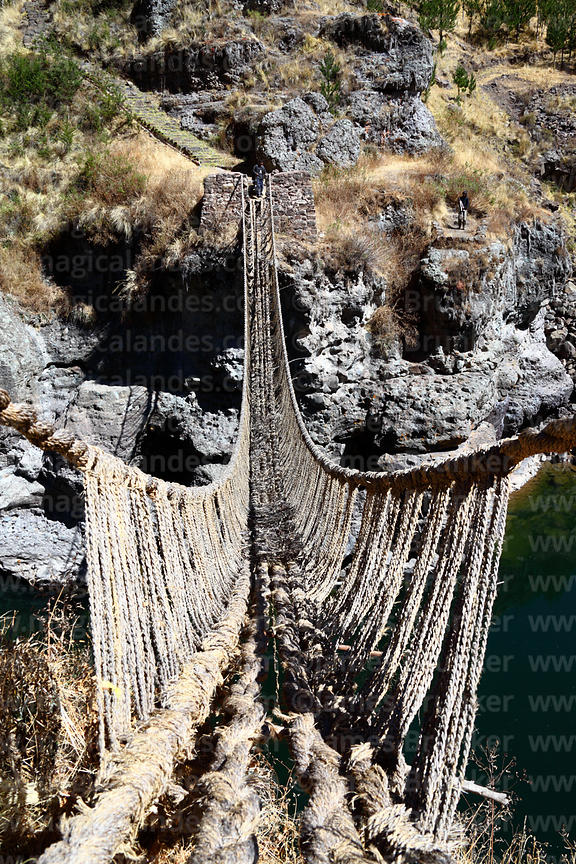 View along the last Inca rope suspension bridge across the Apurimac River at Q'eswachaka, Canas province, Cusco Region, Peru