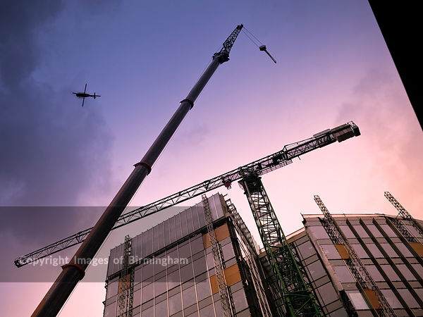 The removal of the crane at 11 Brindleyplace, Birmingham, West Midlands.