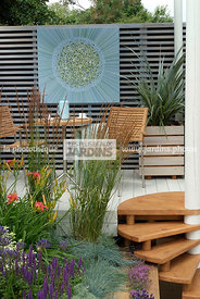 Border, Border with flowers, Garden chair, garden designer, Garden furniture, Garden table, Stair, Terrace, Trellis, Contempo...