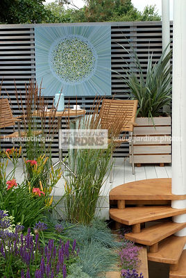 Border, Border with flowers, Garden chair, garden designer, Garden furniture, Garden table, Stair, Terrace, Trellis, Contemporary Terrace, Wooden Terrace, Digital, Grasses