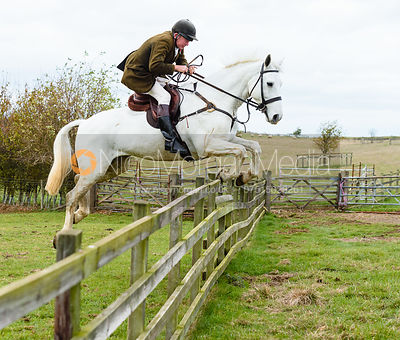 Andrew Collie jumping a hunt jump at Stone Lodge. The Cottesmore Hunt at Tilton