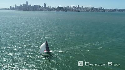 Sailboat in San Francisco Bay Cityscape