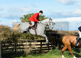 Tim Eastwood jumping a fence at Gartree. Quorn Hunt Opening Meet 2018