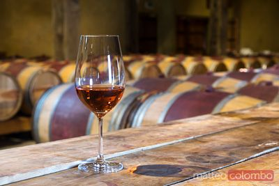 Glass of rose wine in a winery cellar, New Zealand