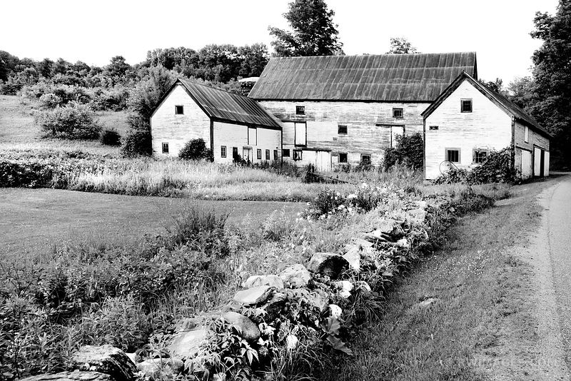 OLD BARN BUILDINGS RURAL VERMONT BLACK AND WHITE
