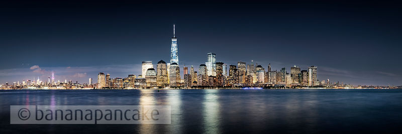 The Lower Manhattan skyline at night, from New Jersey, New York - BP4494B