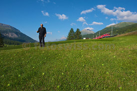 Art of Serge Spitzer on a field in the Engadine Village of Zuoz
