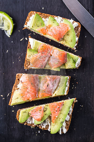 Sandwich with avocado and smoked salmon