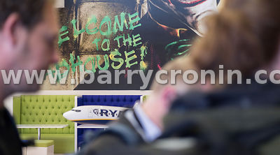21st September, 2017.Ryanair AGM at Ryanair HQ, Swords. Pictured is a 'Welcome to the madhouse' graphic at HQ.Photo: BARRY CR...
