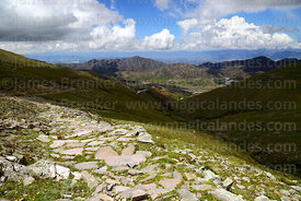 Section of Pre-Hispanic Inca Trail descending towards Calderillas Valley, Cordillera de Sama Biological Reserve, Bolivia