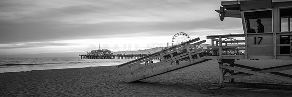 Santa Monica Lifeguard Tower 17 Black and White Panorama Photo