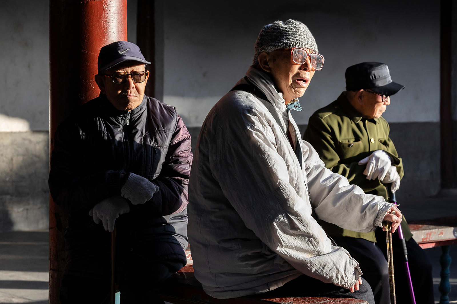 Elderly Men at the Tiantan Park in the Morning