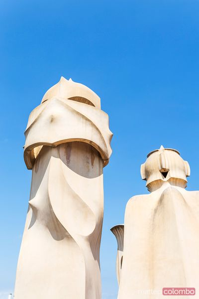 Rooftop chimney of Casa Mila by Gaudi, Barcelona, Spain