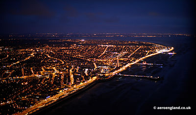 aerial photograph of Blackpool at night  Lancs England UK
