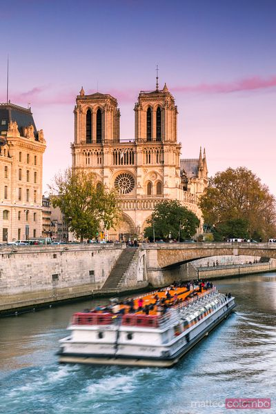 Excursion boat passing near Notre Dame at sunset, Paris
