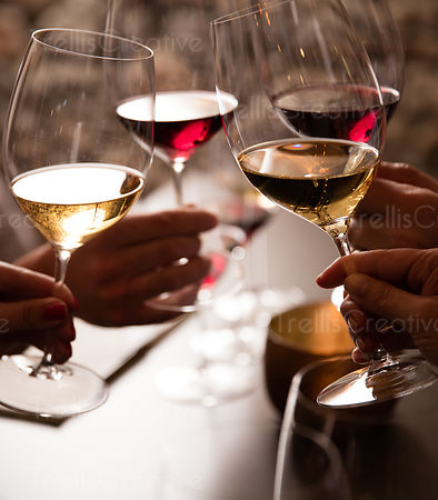 Hands holding the glasses of red and white wines making a toast