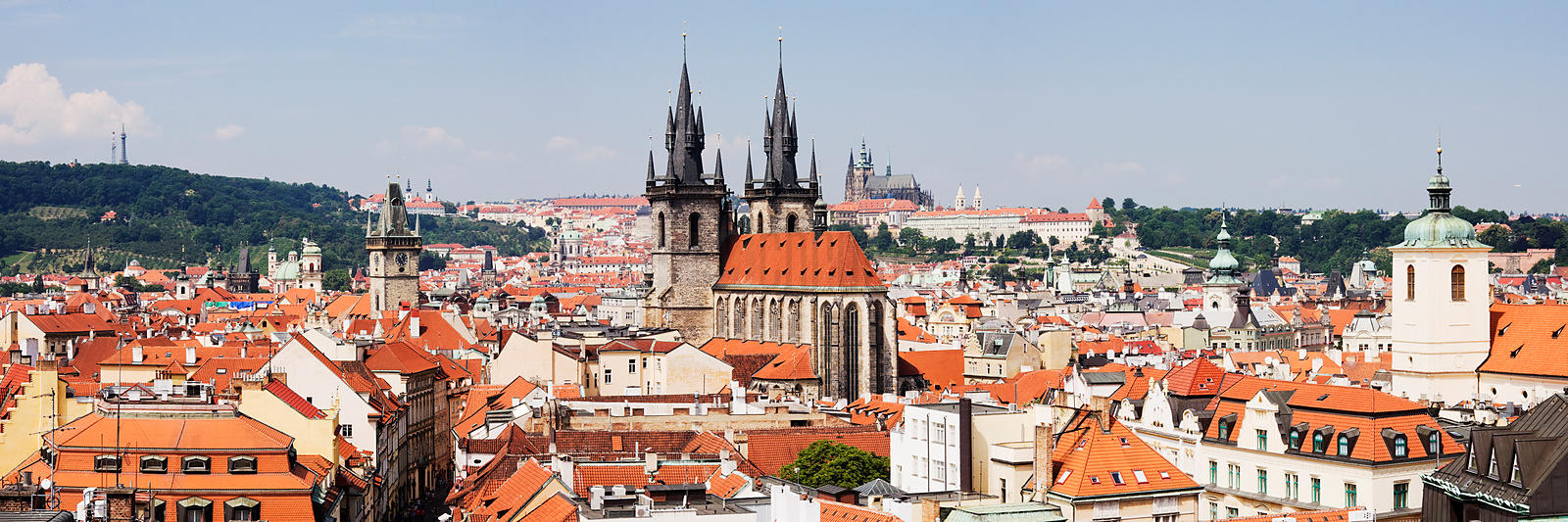 Historic Prague Skyline from the Powder Tower