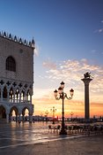 Sunrise over St Marks square and Doge's palace, Venice