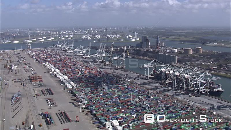Wide view of container terminal at Port of Rotterdam, The Netherlands