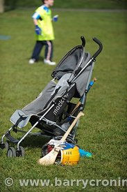 21st April, 2012. Castleknock GFC football nursery, Carpenterstown, Dublin. Pictured is a child's McLaren buggy with hurling ...