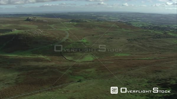 Aerial view of Rippon Tor and east Dartmoor, Dartmoor National Park, Devon, England, UK, October 2015.