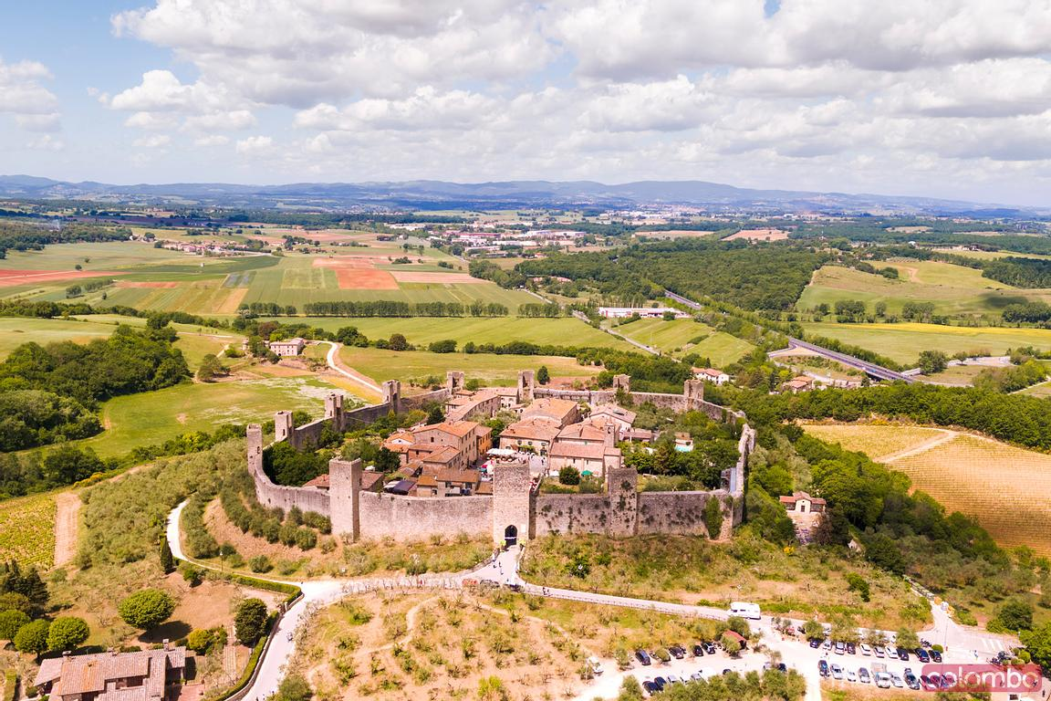 Aerial of Monteriggioni medieval town, Tuscany, Italy