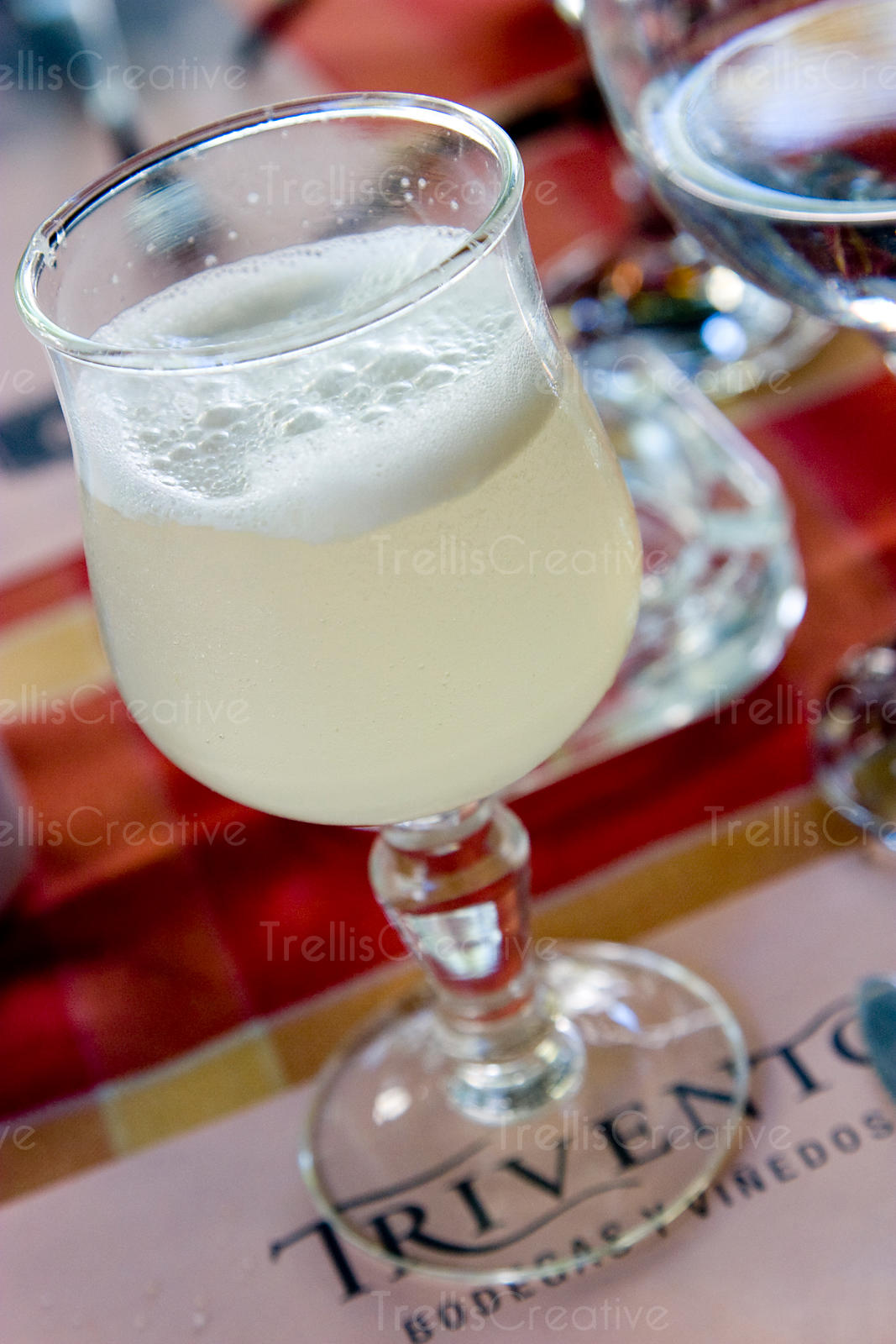 Pisco sour with a foamy head