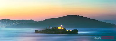 Alcatraz island in the bay at sunset, San Francisco, USA