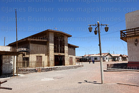 Church and corner of main square in abandoned nitrate mining town of Humberstone, Region I, Chile
