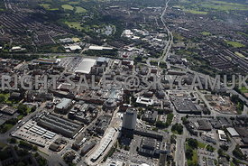 Oldham wide angle aerial photograph of Oldham town centre from the north showing the Oldham Way in the background