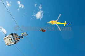 Emergency Training for Staff of Cable Mountain Trains BEST with Helicopter REGA and Heliswiss for Winter  Passenger Rescue