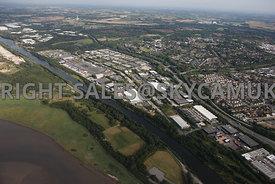 Runcorn aerial photograph of Astmoor Industrial Estate Astmoor road looking eastwards showing the Manchester ship canal and t...