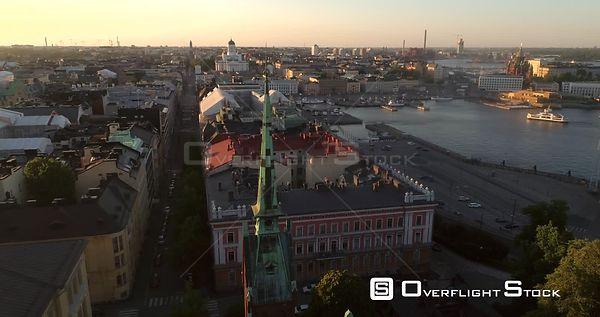 Helsinki Cityscape, Aerial View Around the German Cathedral, Saksalainen Kirkko, Revealing the City of Helsinki, on a Sunny S...