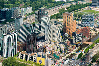 Zuidas City Center Amsterdam Netherlands Aerial