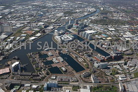 Manchester high level view of Salford Erie Ontario and Clippers Quays Salford Quays