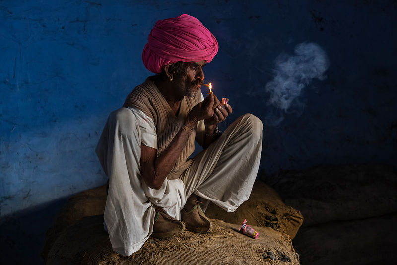 Portrait of a Rabari Man Smoking a Beedi