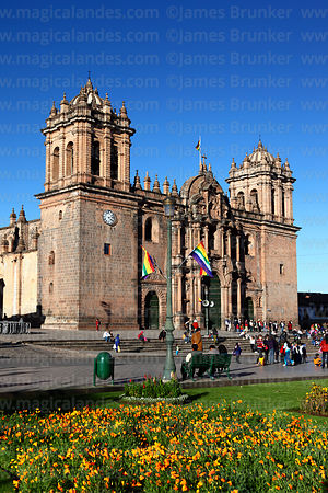 Cathedral and flowers in Plaza de Armas, Cusco, Peru