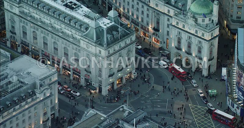 London Aerial Footage of Piccadilly Circus.