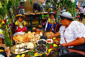 Girls with typical local food and produce in back of a pick up truck during Carnival parades, San Lorenzo, Tarija Department,...