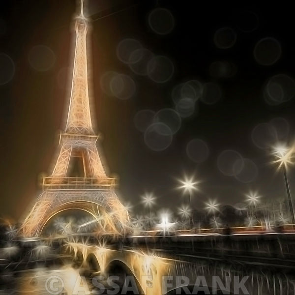 Eiffel tower at night over the river siene, Paris