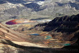 View looking down from Mt Chacaltaya to lakes near Milluni contaminated by mining activity, Bolivia