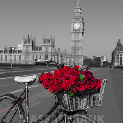 Bicycle with bunch of flowers on Westminster Bridge , London, UK