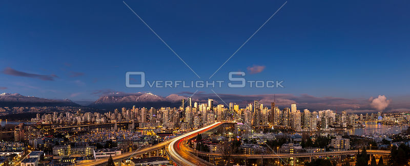 Panoramic View of Downtown Vancouver on a Winter Sunset