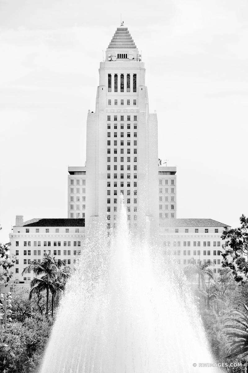 LOS ANGELES CITY HALL BUILDING LOS ANGELES CALIFORNIA BLACK AND WHITE VERTICAL