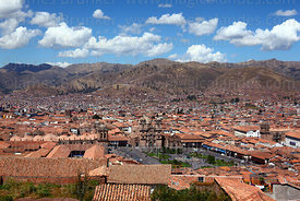 View of  Plaza de Armas with cathedral (L) , La Compañia de Jesus church (centre) and La Merced church (R), Cusco, Peru