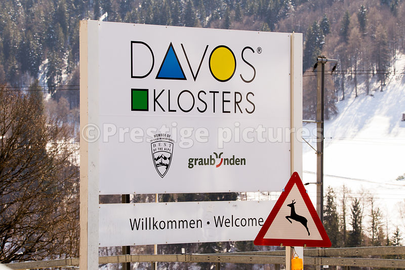 Road sign for Davos Klosters   in Switzerland