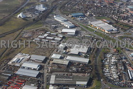 Widnes high level aerial photograph looking across old disused industrial land towards Widnes Trade Park Dennis road towards ...