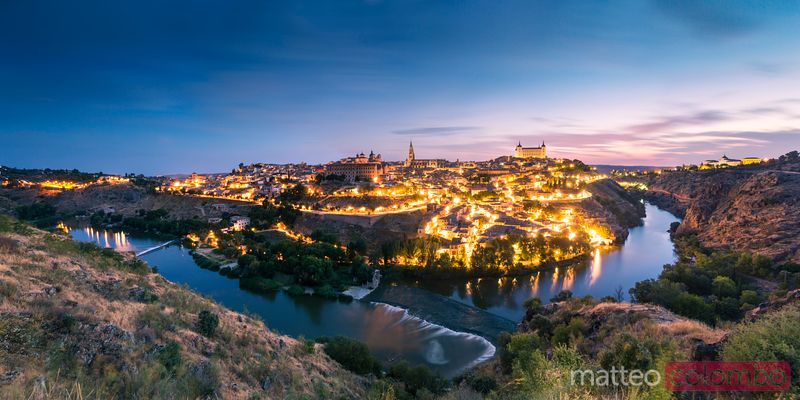 Cityscape at sunrise with river Tagus, Toledo, Spain
