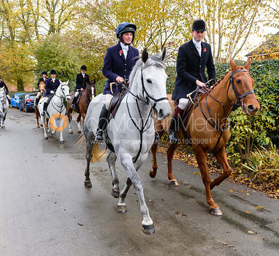 Sophie Walker, William Bell leaving the meet. The Cottesmore Hunt at Braunston